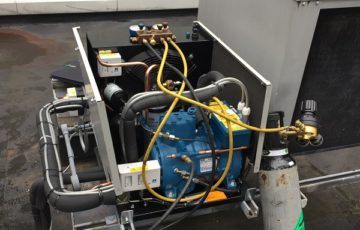 refrigeration service equipment in use