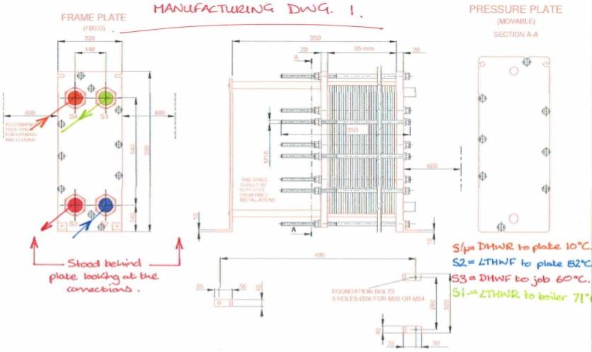 plate heat exchanger design drawing
