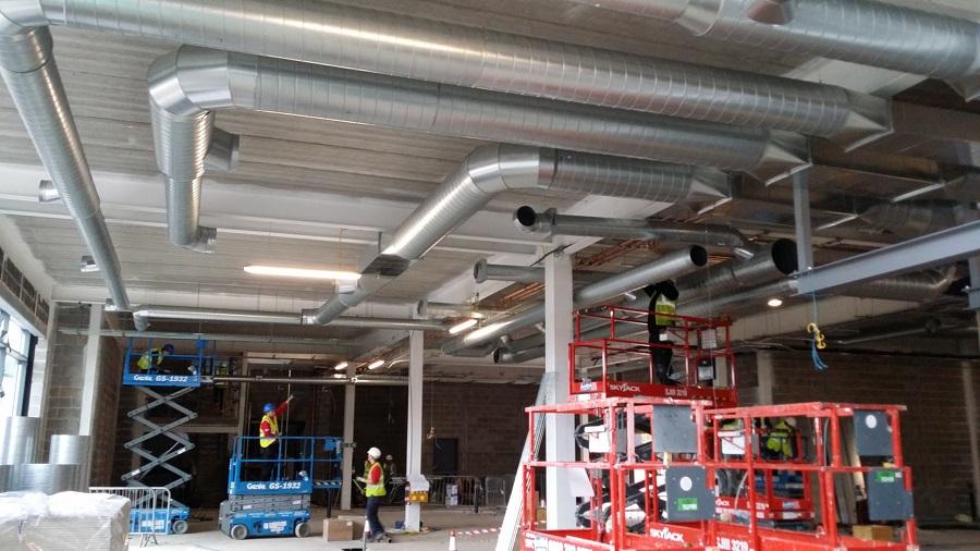 ventilation duct installation work